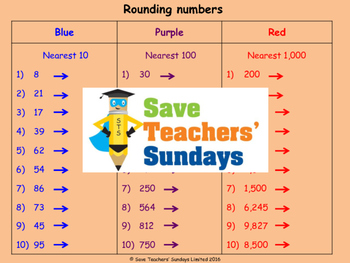 Rounding numbers worksheets (3 levels of difficulty)