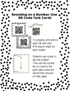 Rounding on a Number Line QR Code Task Cards