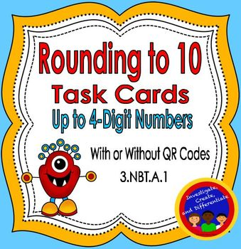 Rounding to 10 Task Cards (up to 4-digit numbers) with and
