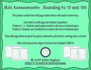 3.NBT.1 Rounding to 10 and 100 Quick Assessments