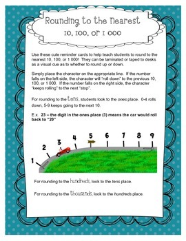 Rounding to the Nearest 10, 100, or 1 000 Math Manipulatives