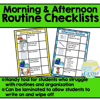 Morning and Afternoon Routine Checklists