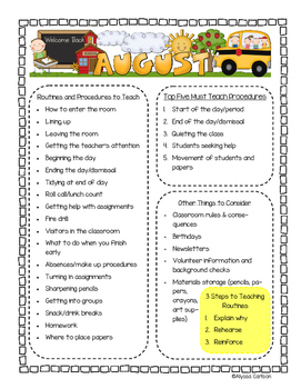 Routines and Procedures for Beginning of Year