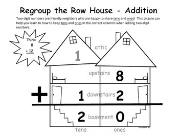Regrouping 2-Digit Addition/Subtraction Row House Graphic