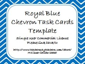 Royal Blue Chevron Task Card/Scoot Card Templates