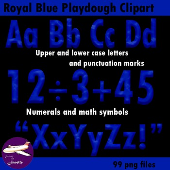 Royal Blue Playdough Look Alphabet Clip Art  for Bulletin