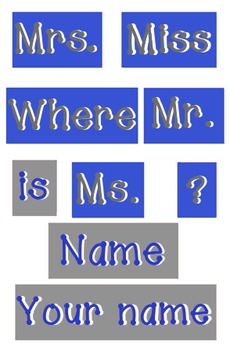 Royal Blue and Gray - WORDS for your Where is the counselo