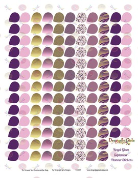 Royal Glam Purple and Gold 139 Small Teardrops Printable P