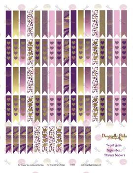 Royal Glam Purple and Gold 80 Long Flags Printable Planner