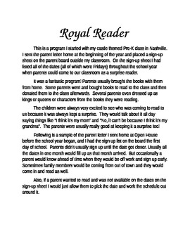 Royal Reader program overview and parent letter