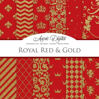 Royal Red and Gold Digital Papers - backgrounds