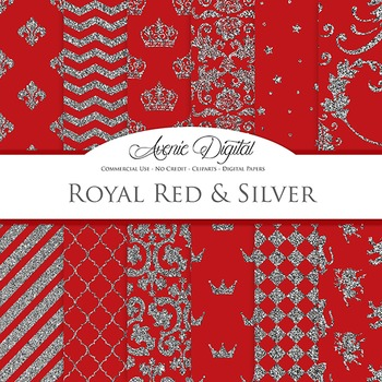 Royal Red and Silver Digital Paper - backgrounds