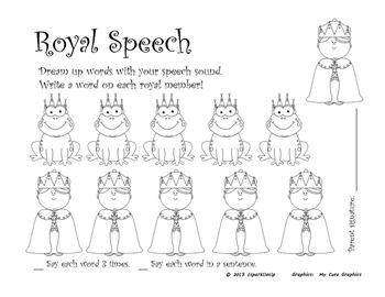 Royal Speech:  Open Ended Articulation Worksheet