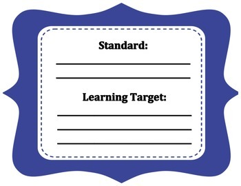 Royal blue learning center task sign for standard and lear