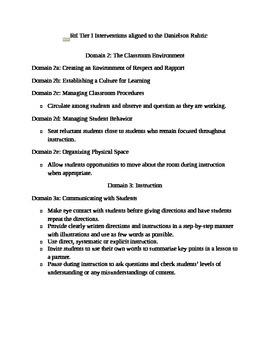 RtI Tier 1 Checklist