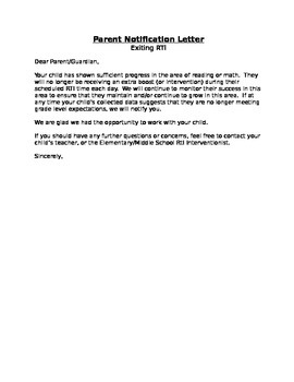 RtI: Tier 2/3 Exit Parent Notification Letter