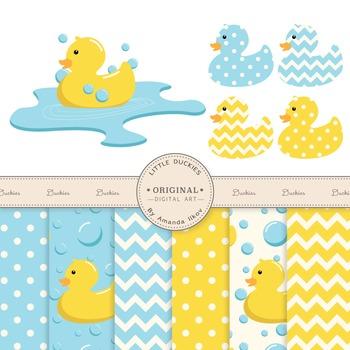 Rubber Duck Clip Art & Digital Paper Set - Rubber Ducks Cl