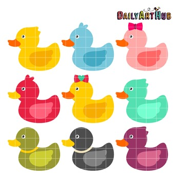 Rubber Duckies Clip Art - Great for Art Class Projects!
