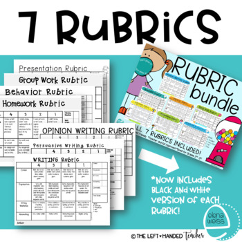 Rubric Bundle :Writing (2), Homework, Groups, Behavior and