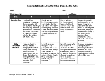 Rubric for Response to Literature- How the Setting Effects