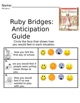 Ruby Bridges Anticipation Guide & After Reading Actvity