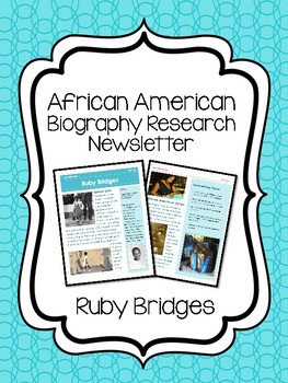 Ruby Bridges Biography Newsletter, Research Black History Month