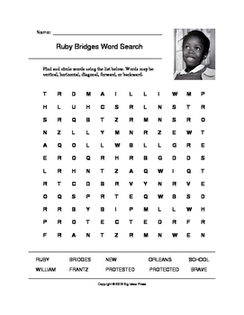 Ruby Bridges Word Search (Grades 3-5)