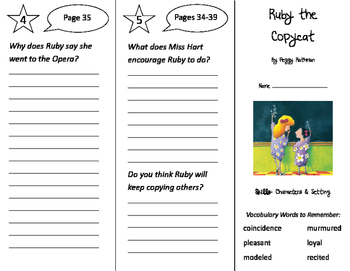 Ruby the Copycat Trifold - Storytown 3rd Grade Unit 1 Week 1