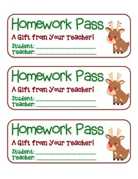 """""""Rudolph"""" Homework Pass –Holiday FUN! (full color and blac"""