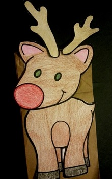 Rudolph the Red-nosed reindeer paper bag puppet