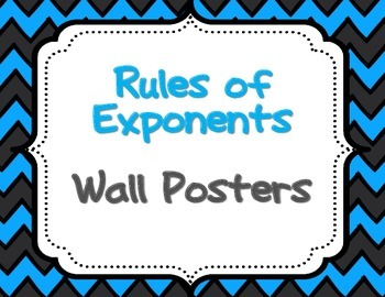 Rules of Exponents Wall Posters