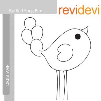 Ruffled Song Bird (digital stamp, coloring image) peacock
