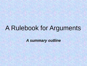 Rulebook for Arguments Summary PowerPoint