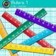Ruler Clip Art {Rainbow Measurement Tool Graphics for Math