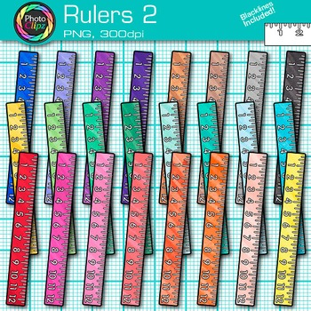 Ruler Clip Art {Rainbow Measurement Tool Graphics for Math