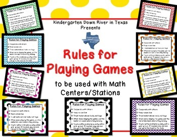Rules for Playing Games Posters (Used for Math Centers, Ga