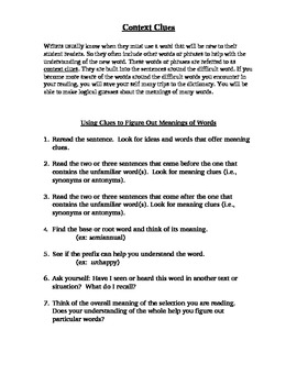 Rules for figuring out Context Clues
