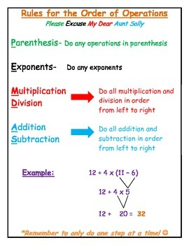 Rules for the Order of Operations PEMDAS Cheat Sheet & Stu