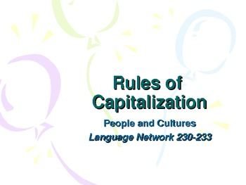 Rules of Capitalization PowerPoint