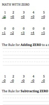 Rules with Zero in addition, subtraction, & multiplication
