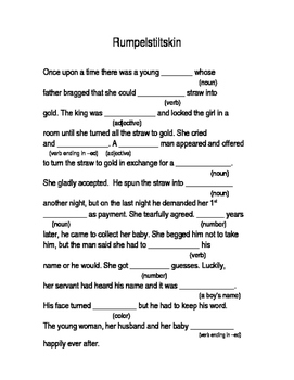 "Rumpelstilskin and Cinderella ""Mad Libs"" pages"