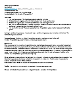 Rumplestiltskin lesson plan