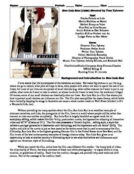 Run Lola Run Film (1998) Study Guide Movie Packet