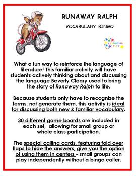 Runaway Ralph Vocabulary Bingo
