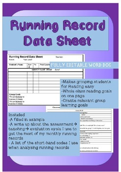 Running Record Classroom Data Sheet