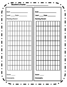 Running Record Recording Form for Guided Reading Groups