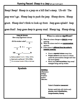 Running Record Forms for Pre-K through 7th Grade
