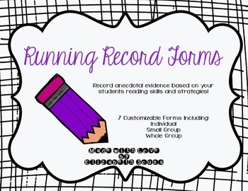 Running Record Forms for Reading: Individual, Small Group,