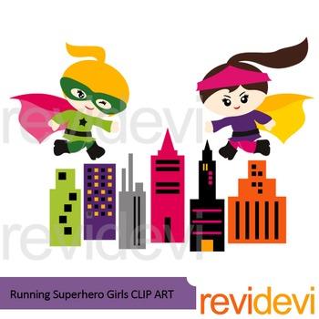 Running superhero girl clip art