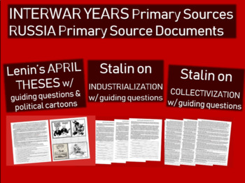 Russia primary source 3pack: Lenin April Theses Stalin on